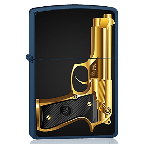 Blue igniter, Gasoline lighter with design : Golden Beretta pistol