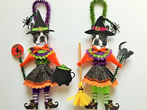 - Boston Terrier HALLOWEEN WITCH ORNAMENTS Vintage Style Dog Chenille Ornaments Set of 2
