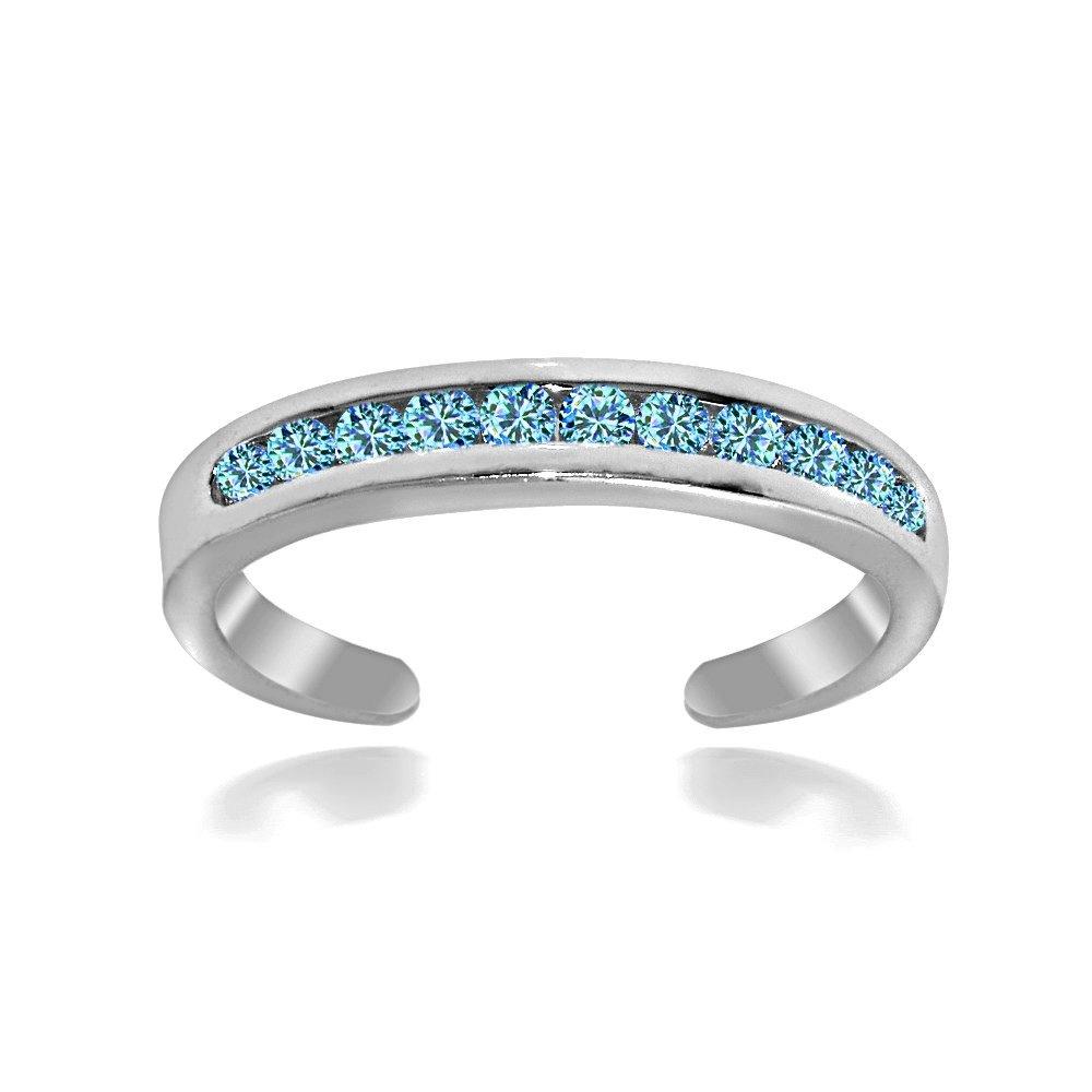 Hoops & Loops Sterling Silver Blue Channel-Set Cubic Zirconia Toe Ring