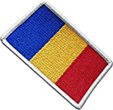 "[Single Count] Custom, Cool & Awesome {2.15"" x 3.4"" Inches} Small Rectangle Bordered Chad Chadian Flag National Stripe Emblem Morale Badge Design (Military Type) Velcro Patch ""White, Red, Blue & Gold"""