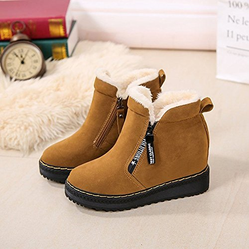 Brown Fall PU Black Comfort Fashion Brown Ankle Gray Flat Winter Booties Casual HSXZ Boots ZHZNVX Boots Round Women's for Heel Toe Shoes Boots twSBxX1