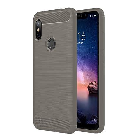 Anjoo Compatible para Funda Xiaomi Redmi Note 6 Pro, Carcasa Redmi Note 6 Pro Carbon Fibre Texture Suave y Flexible TPU Silicona Cases Parachoques ...