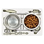 Ambesonne Sketchy Pet Mat for Food and Water, Balloon Antique Cars Design with Words in Middle Saying Steampunk… 6