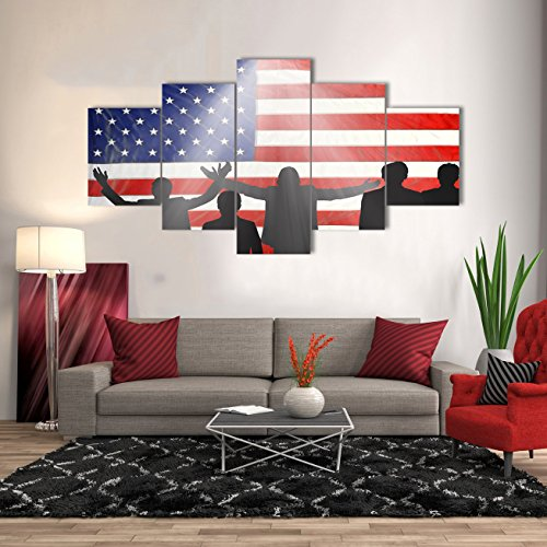 Canvas Wall Art 5 Panel Painting Pictures for Living Room Military Posters and Prints People Cheer Up for Independence Day on American Flag Modern Artwork Home Decor Framed Stretched(60''W x 40''H)