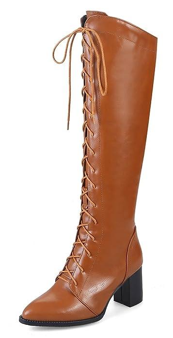 SHOWHOW Damen Schleife High Boots Schaftstiefel Mit Absatz Chelsea Boots Braun 37 EU QfhPhL