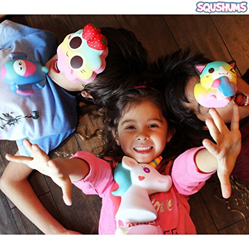 The Original Squishies By Squshums Super Slow Rising, Fruit Scented Jumbo Squishys : 1 Pc Blind Bag : Collect All 5 : Unicorn, Airplane, Heart Cat, Strawberry Cake & Elephant : FREE Carrying Case! Photo #2