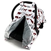 Dear Baby Gear Car Seat Canopy, Woodland Bear Moose Plaid, Minky Grey