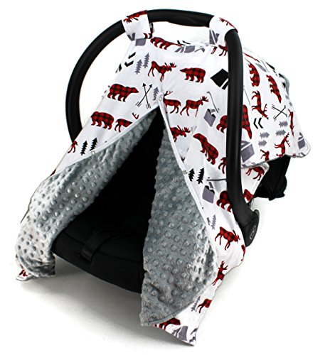 (Dear Baby Gear Car Seat Canopy, Woodland Bear Moose Plaid, Minky Grey)