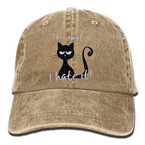 Walnut Cake Gorras béisbol This Shirt Cat Hates It Denim Hat Adjustable Mens Stretch Baseball Hat
