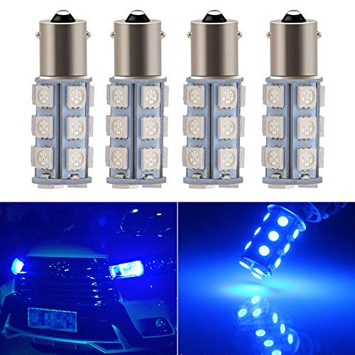 Everbright 4-Pack Blue 1156 BA15S / 1141/1073 / 1095 Base 18 SMD 5050 LED Replacement Bulb for RV Camper SUV MPV Car Turn Tail Signal Bulb Brake Light Lamp Backup Lamps Bulbs High LUMS (DV-12V)