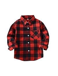 Evelin LEE Little Kids Boys' Girls' Long Sleeve Button Down Plaid Flannel Shirt