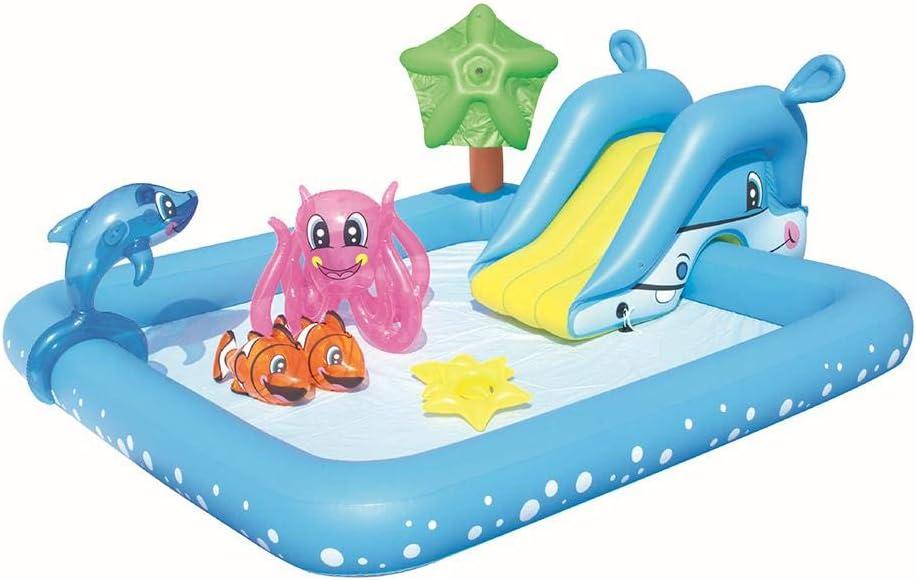 Waroomss Piscina Hinchable Bebe Tobogan Centro De Juegos Acuático Piscina Al Aire Libre sobre El Suelo Piscina Exterior para Niños Piscina para Adultos Al Aire Libre