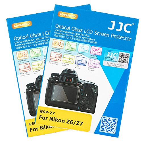 2-Pack JJC Dedicated Tempered Glass Screen Protector Kit for Nikon Z7 Z6 Mirrorless Camera, 0.3mm Ultra-Thin / 9H Hardness / 2.5D Round Edges, Includes PET Film Shoulder Screen / Sub-Screen Protector