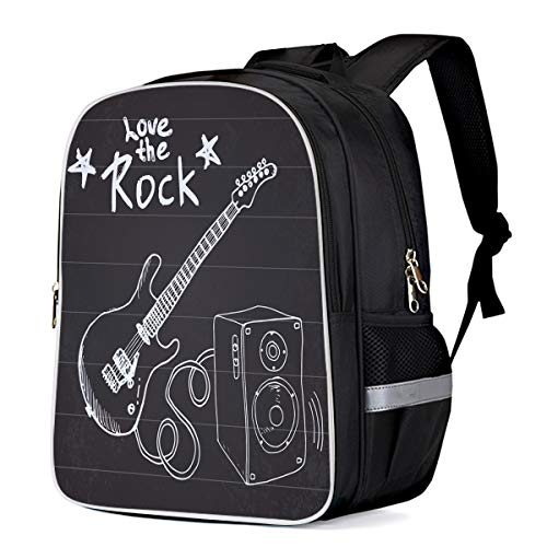 - Fashion Elementary Student School Bags- Love the Rock and Electric Guitar Pattern - Durable School Backpacks Outdoor Daypack Travel Packback for Kids Boys Girls