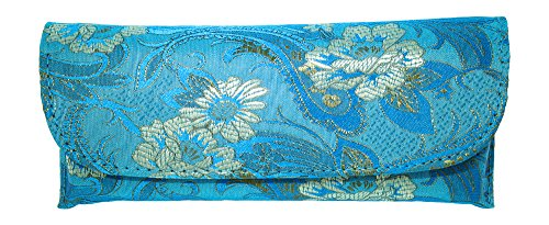 Beautiful Asian Silk Brocade Style Semi-Hard Eyeglass Case Front Closure - Optical Frame Hard Case