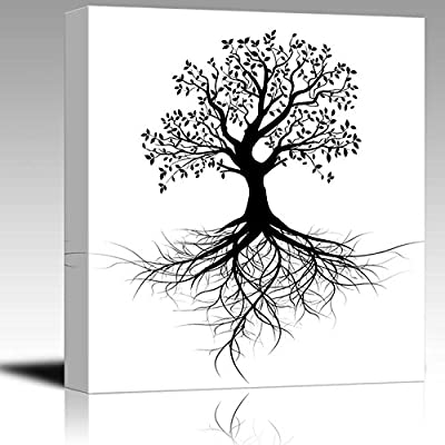 Handsome Style, Abstract Black Tree with Roots in Clean and Simple Style Wall Decor, Original Creation
