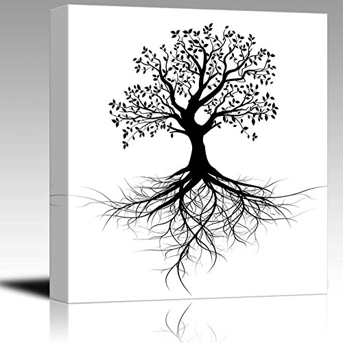 Abstract Black Tree with Roots in Clean and Simple Style Wall Decor