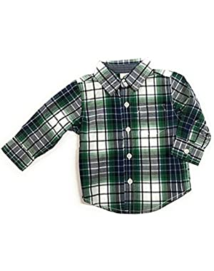 Baby Boy's Plaid Button Front Dress Shirt