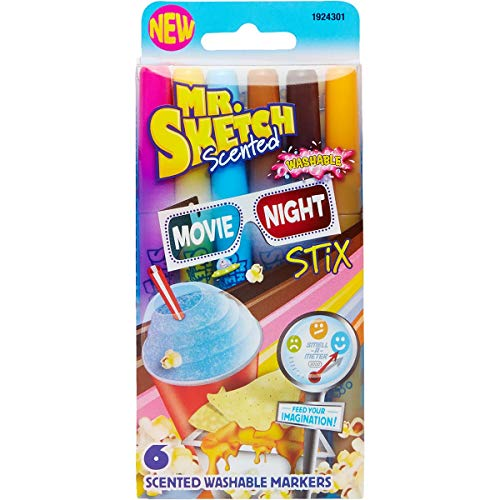 (Mr. Sketch Stix Washable Scented Markers, Fine-Tip, Set of 6, Movie Night Colors (1924301))