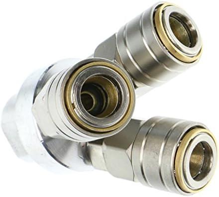 セルフロック ホース継手 全2種 エアコンプレッサ C式 クイックリリース コネクタ エアホースカプラ - 3ウェイ
