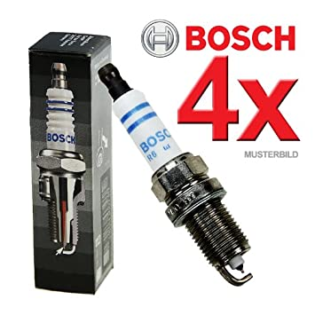 4x Bujía de encendido BOSCH Super Plus FGR7DQE+ CITROEN BX 19 GTi 16V; PEUGEOT 405