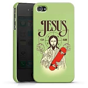 Carcasa Design Funda para Apple iPhone 4 / 4S PremiumCase white - Jesus Can Slide