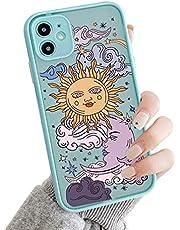 Seafirst Kompatibel med iPhone 11 för klar frostad PC baksida 3D sol måne tecknad film flickor kvinna och mjuk TPU stötfångare silikon smal fodral för iPhone 11 – blå