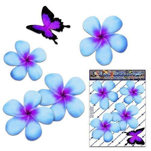 Fiore frangipani plumeria blu doppio + farfalla adesivi auto autoadesivi - ST00024BL_SML - JAS Stickers