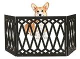 Kleeger Freestanding Folding Dog Gate - For Small Pets [Diamond Deco'r Decorative Design] No Tools Required (Black Diamond)