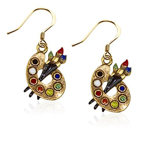 Whimsical Gifts Artist Charm Earrings (Artist Palette, Gold)