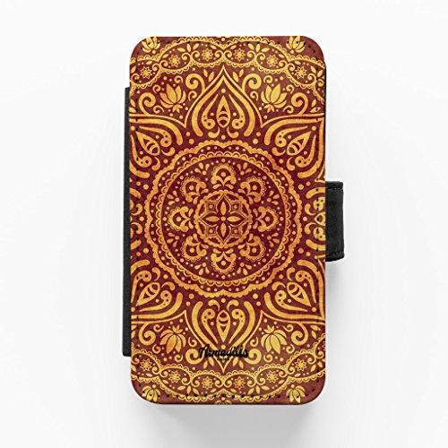 Mandala Pattern 02 Hochwertige PU-Lederimitat Hülle, Schutzhülle Hardcover Flip Case für iPhone 5 / 5s vom BYMBOW + wird mit KOSTENLOSER klarer Displayschutzfolie geliefert