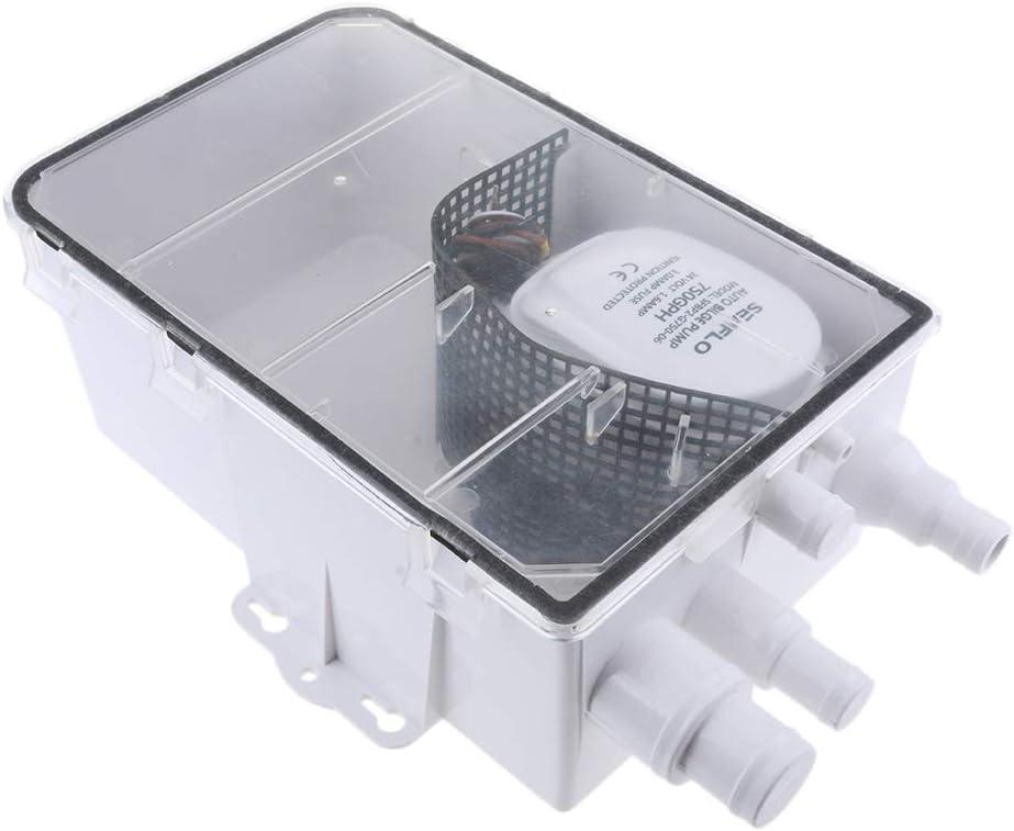 SDENSHI 600GPH 24V Sistema De Bomba De Sumidero De Ducha Caja De Drenaje De Sentina Automática Barco De Ventilación De Aire RV