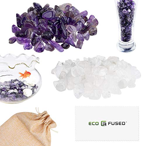ECO-FUSED Tumbled Chips Stone Crushed Glass Crystal Pieces - Amethyst & Quartz Rock - Irregular Shaped Natural Stones for Arts, Crafts, Jewelry, Decor and More - Aquarium, Plants, Candle Decoration ()