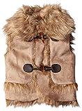 Jessica Simpson Baby Girls' Faux Suede Vest with Faux Fur Trim, Light Khaki, 24 Months