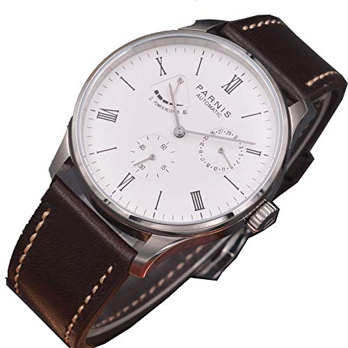 Parnis 42mm White Dial Silver Pointer Leather Band Seagull ST1780 Automatic Movement Men's Watch Power Reserve Indicator (Reserve Indicator Power)