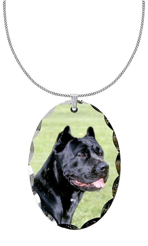 Canine Designs Cane Corso Scalloped Edge Oval Pendant