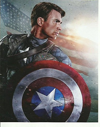 Captain America Chris Evans With Shield Close Up 8 X 10 Inches