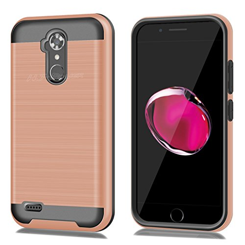 ZTE N9560 Case, HJ Power[TM] For ZTE Max XL N9560/ZMax Pro Z981/Blade X Max Z983/Max Blue/Blade Max 3 Z986 (Virgin Mobile, Boost Mobile)--CH3 HYBRID TPU Hard Case Rose Gold (Window Phones For Boost Mobile)