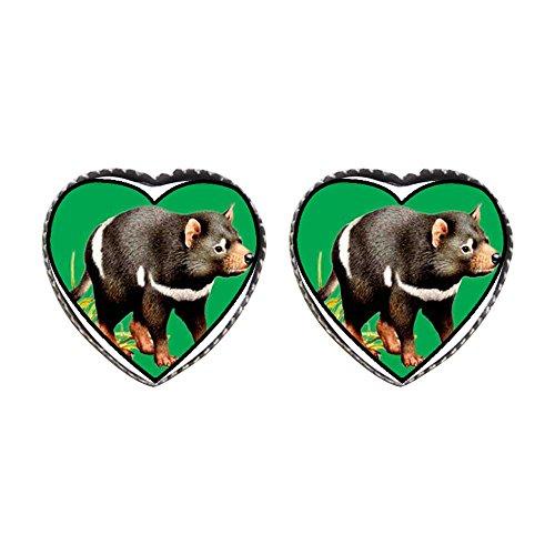 (GiftJewelryShop Bronze Retro Style Tasmanian Devil Photo Stud Heart Earrings #12)