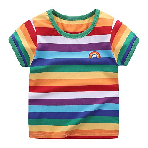 Motecity Little Boys' T-shirt Rainbow Striped Size 5 Rainbow]()