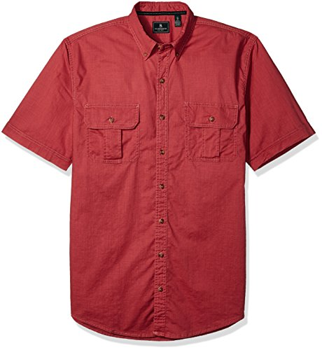 G.H. Bass & Co. Men's Big and Tall Short Sleeve Solid Pigment Dyed Shirt, Rich Garnet, 2X-Large