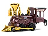 Power Steam Engine Classic Loco Model Metal Die Cast Train Brown Gold Silver