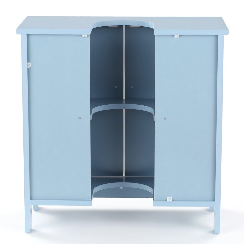 Ritioner Meuble de Salle de Bain sur Pieds lavabo Salle de Bain Meuble de Rangement sous Vasque en MDF Armoire de Salle de Bain avec Portes Organisateur 2 Couches Blanc//Bleu 60 X 29 X 60 cm
