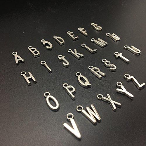 HUELE 104 PCS Zinc Alloy Metal A-Z Letter Alphabet Charm Pendant Loose Beads (Sterling Silver Alphabet Beads Plated)