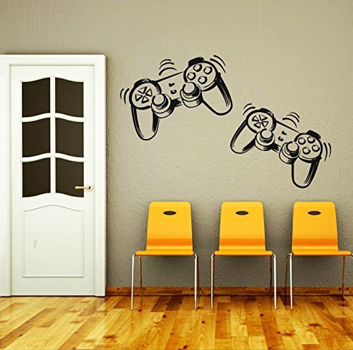 trollers Joystick Gamer Gaming Video Game Kids Children Gift Nursery Boys Room Wall Vinyl Decal Stickers Bedroom Murals by DecorimDecorWallDecal (Wall Murals Boys)