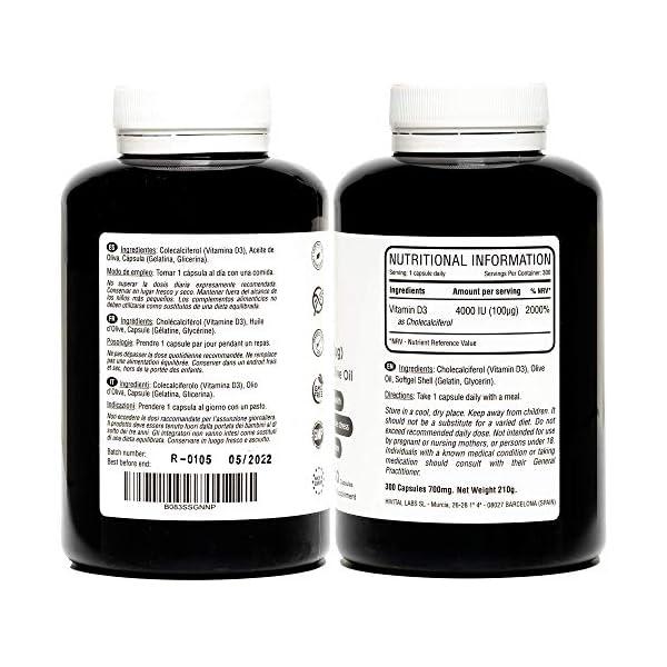 Vitamine D3 4000 IU. 300 capsules pour 10 mois. Vitamine D naturelle avec huile d'olive extra vierge. Maintient les…