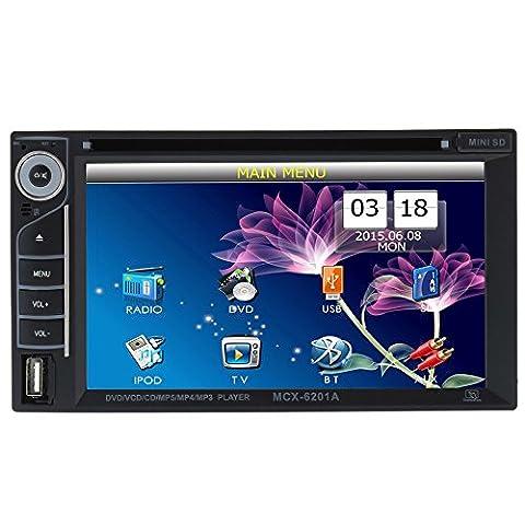 Docooler Universal UI Disign 6.2 Inch Double Din Car DVD/USB/SD Player HD Multimedia Bluetooth Radio (Radios De Dvd)