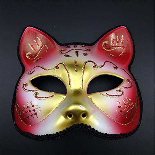 Cat Feather Mask - Cat Mask Halloween Mask Lovely Christmas Red Cosplay Head Hollow Kid Interesting Lovely Dance Props