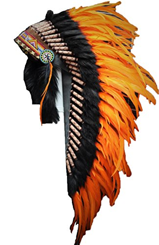 Theworldoffeathers Medium Orange Rooster Feather Headdress | Native American Indian Inspired.