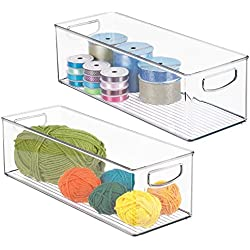 mDesign Stackable Storage Bin with Built-in Handles - Organizer for Craft, Sewing, Art Supplies in Home, Classroom, or Studio - Cabinet or Closet - Durable, Shatter-Resistant Plastic, Pack of 2, Clear